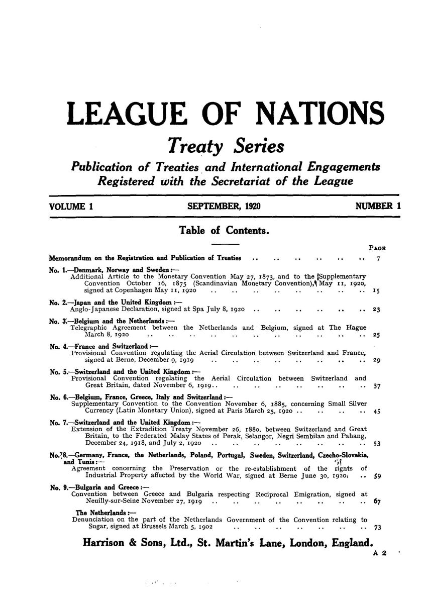 United nations treaty collection this is a collection of treaties and subsequent treaty actions registered with and published by the secretariat of the league of nations pursuant to article platinumwayz